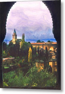 Granada Through The Keyhole Metal Print by Spyder Webb