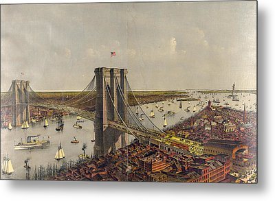 Grand Birds Eye View Of The Great East River Suspension Metal Print by Litz Collection
