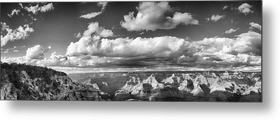 Grand Canyon Mather Point In Black  And White Metal Print by Lisa  Spencer