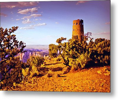 Metal Print featuring the painting Grand Canyon National Park Golden Hour Watchtower by Bob and Nadine Johnston