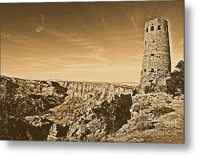 Grand Canyon National Park Mary Colter Designed Desert View Watchtower Rustic Metal Print by Shawn O'Brien