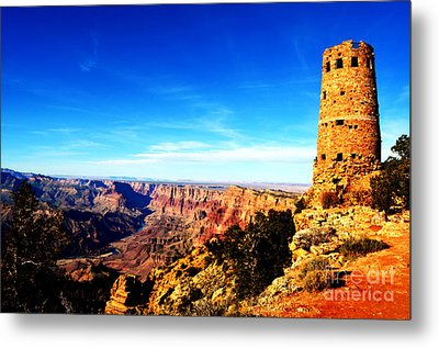 Grand Canyon National Park Mary Colter Designed Desert View Watchtower Vivid Metal Print by Shawn O'Brien