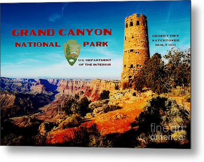 Grand Canyon National Park Poster Desert View Watchtower Retro Future Metal Print by Shawn O'Brien