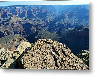 Grand Canyon National Park South Rim Ledge Overlooking Plateau Point And Trail To North Rim Metal Print by Shawn O'Brien