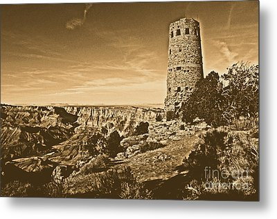 Grand Canyon National Park South Rim Mary Colter Designed Desert View Watchtower Rustic Metal Print by Shawn O'Brien