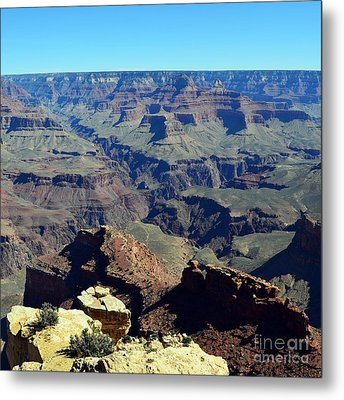 Grand Canyon Peaks And Gorges Vista Square Metal Print by Shawn O'Brien