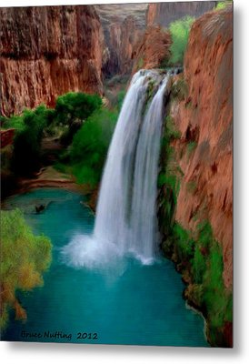 Metal Print featuring the painting Grand Canyon Waterfalls by Bruce Nutting