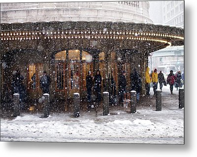 Grand Central Terminal Snow Color Metal Print by Dave Beckerman