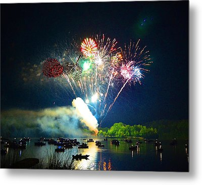 Grand Finale Over The Lake Metal Print by Sandi OReilly