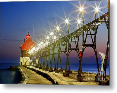 Grand Haven Front Range Lighthouse Metal Print by Twenty Two North Photography