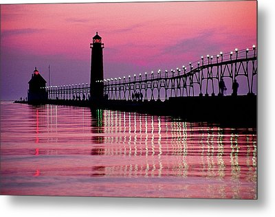 Grand Haven Light Metal Print by Dennis Cox WorldViews