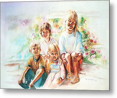 Metal Print featuring the painting Grand Kids by Patricia Schneider Mitchell