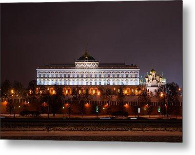 Grand Kremlin Palace At Night Metal Print by Alexander Senin