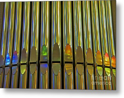 Grand Pipe Organ Reflections Metal Print by Cindy Lee Longhini