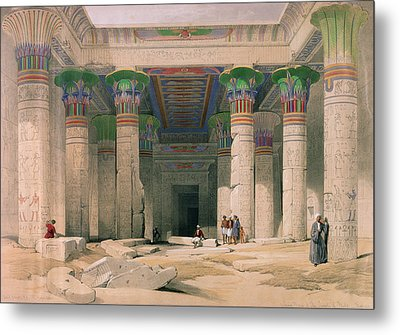 Grand Portico Of The Temple Of Philae, Nubia, From Egypt And Nubia, Engraved By Louis Haghe 1806-85 Metal Print by David Roberts