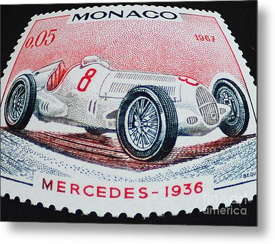 Grand Prix De Monaco 1936 Vintage Postage Stamp Print Metal Print by Andy Prendy