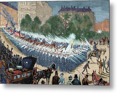 Grand Procession To The Electric Light Metal Print