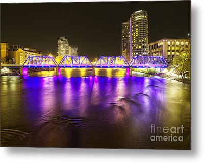 Grand Rapids At Night Metal Print by Twenty Two North Photography