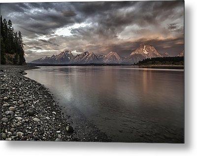 Grand Teton Mountain Range In  Grey And Pink Morning Sunlight Metal Print