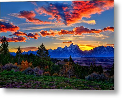 Grand Teton Sunset Metal Print by Greg Norrell