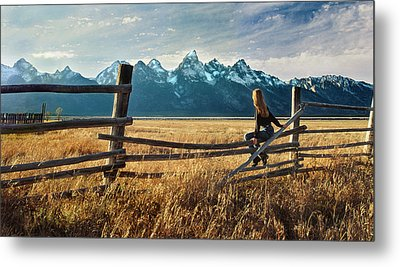 Grand Tetons And Girl On Fence Metal Print by June Jacobsen
