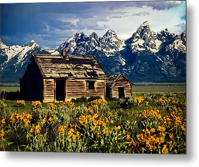 Metal Print featuring the photograph Grand Tetons Cabin by John Haldane