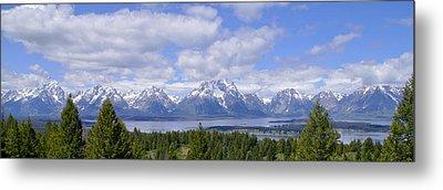 Grand Tetons Over Jackson Lake Panorama 2 Metal Print by Brian Harig