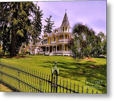 Metal Print featuring the photograph Grand Yellow Victorian And Gate by Becky Lupe