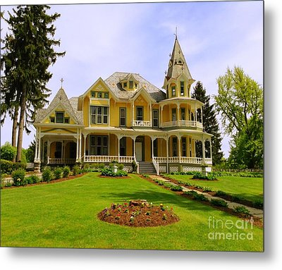 Metal Print featuring the photograph Grand Yellow Victorian by Becky Lupe