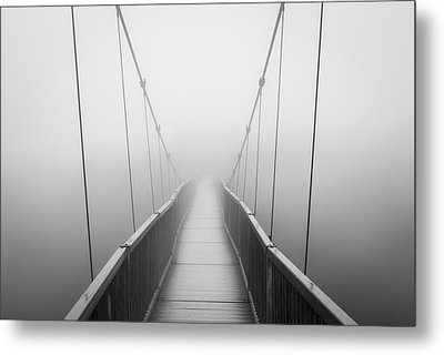 Grandfather Mountain Heavy Fog - Bridge To Nowhere Metal Print