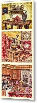 Grandma Kitchen Triptic Metal Print by Mo T