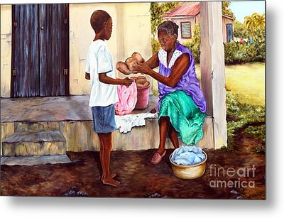 Metal Print featuring the painting Grandma's Creole Bread by Anna-maria Dickinson
