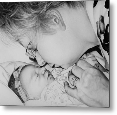 Metal Print featuring the drawing Grandma's Love by Natasha Denger