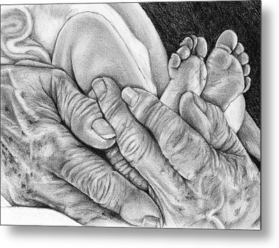 Metal Print featuring the drawing Grandmother's Hands by Penny Collins