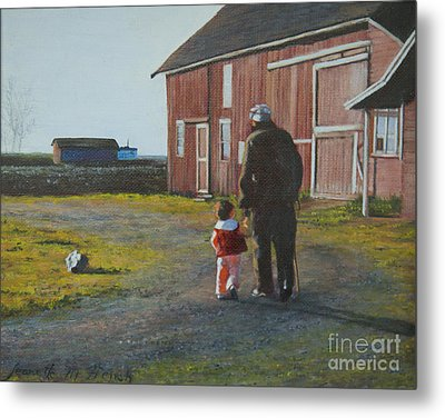 Metal Print featuring the painting Grandpa And Me by Jeanette French