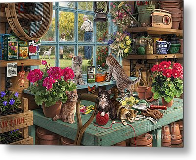 Grandpa's Potting Shed Metal Print by Steve Read