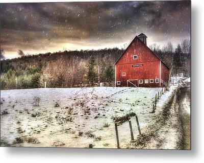 Grand View Farm - Vermont Red Barn Metal Print by Joann Vitali