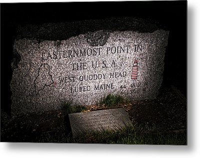 Granite Monument Quoddy Head State Park Metal Print by Marty Saccone