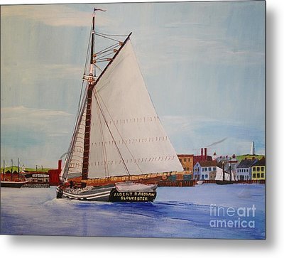 Granite Sloop Albert Baldwin In Boston Harabor 1900 Metal Print