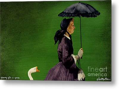 Granny Gets A Goose... Metal Print by Will Bullas