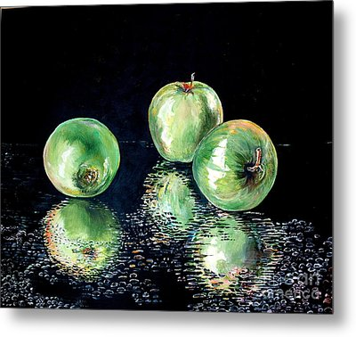 Metal Print featuring the painting Granny Smith by Iya Carson