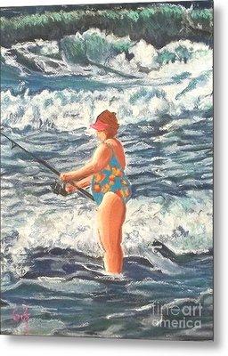 Granny Surf Fishing Metal Print by Frank Giordano