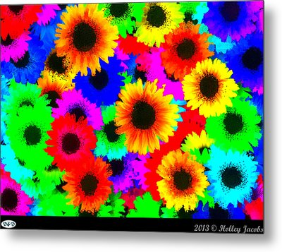 Granny's Garden Colorful Metal Print