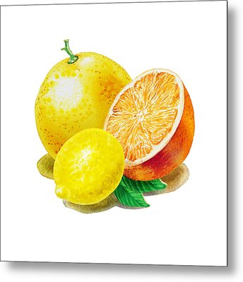 Metal Print featuring the painting Grapefruit Lemon Orange by Irina Sztukowski
