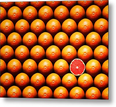 Grapefruit Slice Between Group Metal Print by Johan Swanepoel