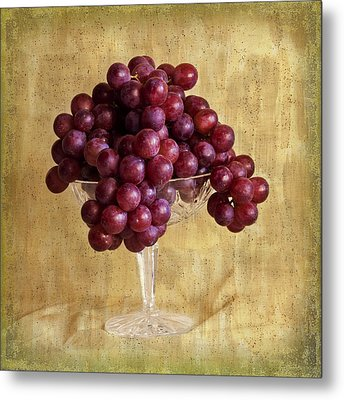 Metal Print featuring the photograph Grapes And Crystal Still Life by Sandra Foster