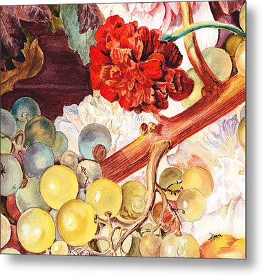 Grapes And Flowers From The Old Master Metal Print by Irina Sztukowski