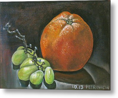 Grapes And Grapefruit Metal Print by Petrovich