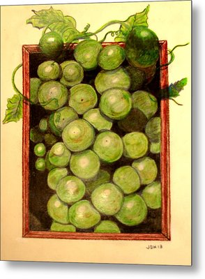 Grapes From A Frame Metal Print by Joseph Hawkins