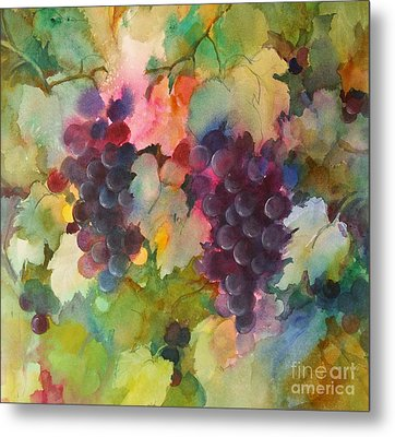 Grapes In Light Metal Print